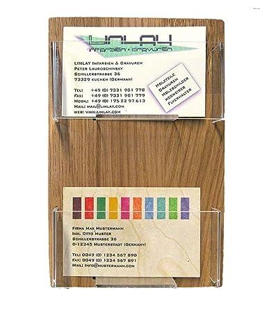 Linlay Intarsien Gravuren Visitenkartenhalter 2 Fächer
