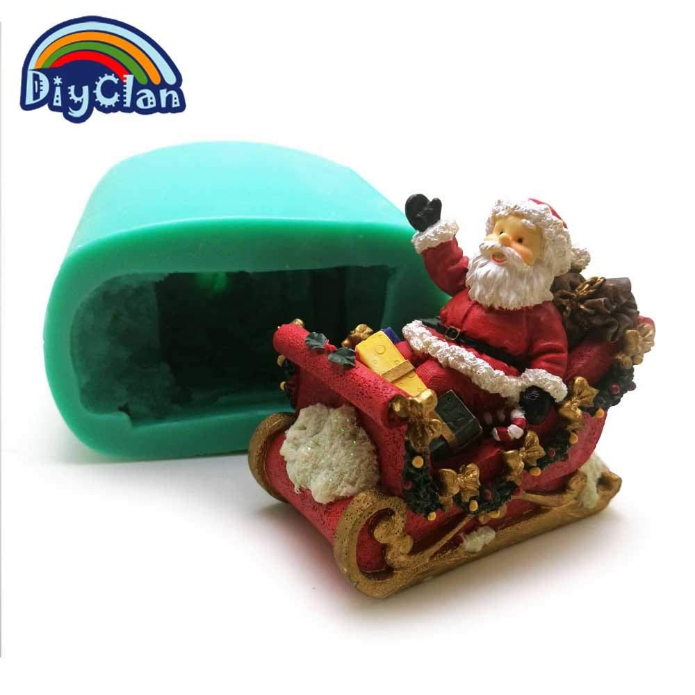 Santa Candle Big Size Santa Claus 3D Silicone Mould for Cake Decoration Father Christmas Salt Sculpture Form Candle Mold for Plaster S0470sd