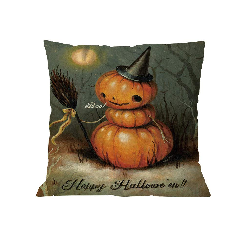 Happy Halloween Pgojuni Pillow Case Polyester Throw Pillow Cover Cushion Cover Pillow Case Home Decor 1pc (45cm X 45cm) (F)