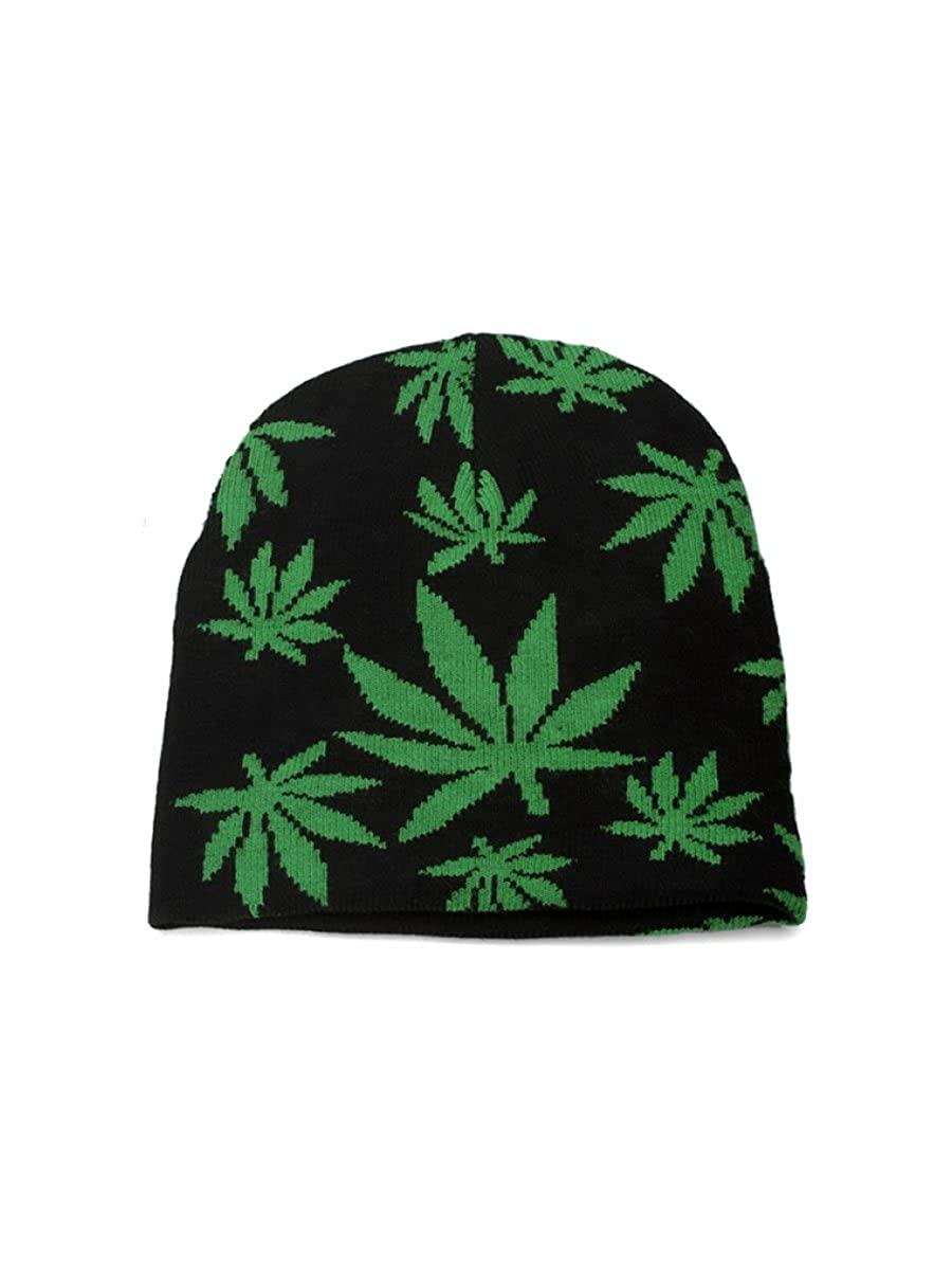 Black & Green Marijuana Pot Leaf Beanie Knit Hat LEE037 FT125