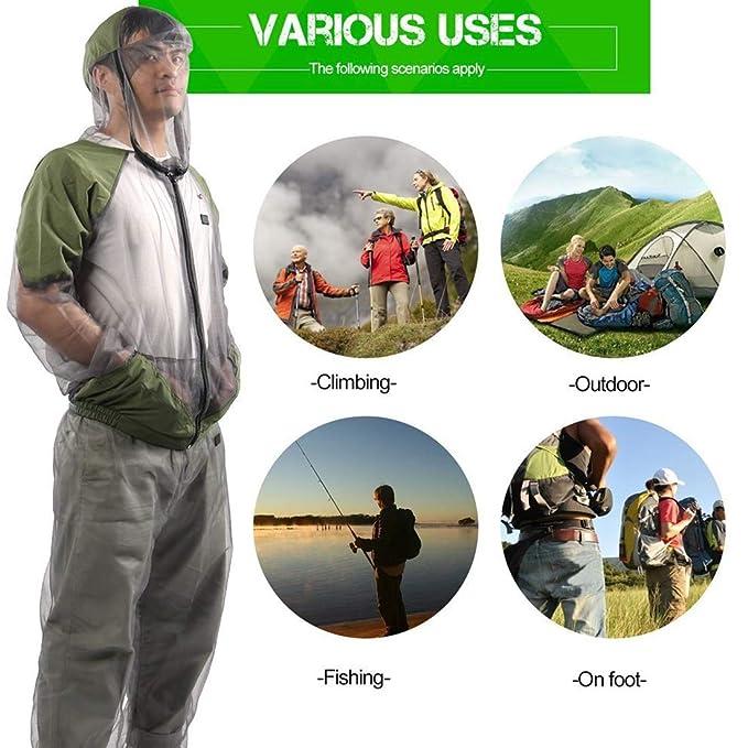 Traje antimosquitos unisex, malla transpirable visible repelente ...