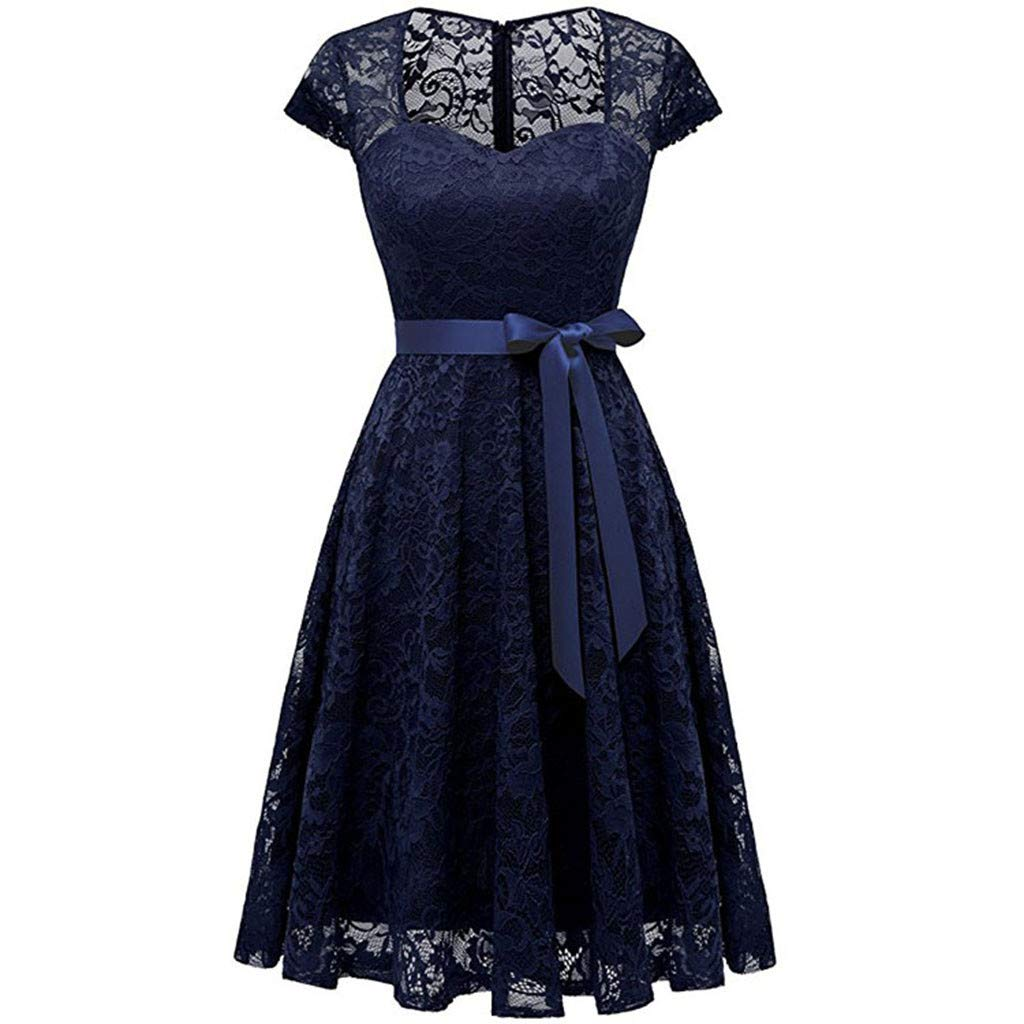 Women's Dresses Lace Vintage Spring Country Rock Cocktail Evening Party Dress Pleated Skirt Navy