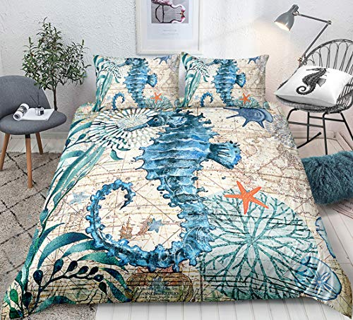 Seahorse Duvet Cover Set Twin Size 3D Seahorse Printed Decorative Bedding Marine Mediterranean Style Quilt Cover Teal Ocean Animal Bedding Sets Ocean Park Theme Comforter Cover Kids Adult Teens