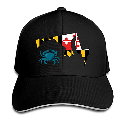 fe7d48ad0eed0 Unisex Fashionable Maryland Flag Crab Peak Cap Cotton Cowboy Hat for Mens  and Womens Black