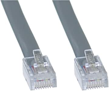 Offex Telephone Cord RJ45, Silver Satin, Straight, 7-Foot (OF-8103-88107)