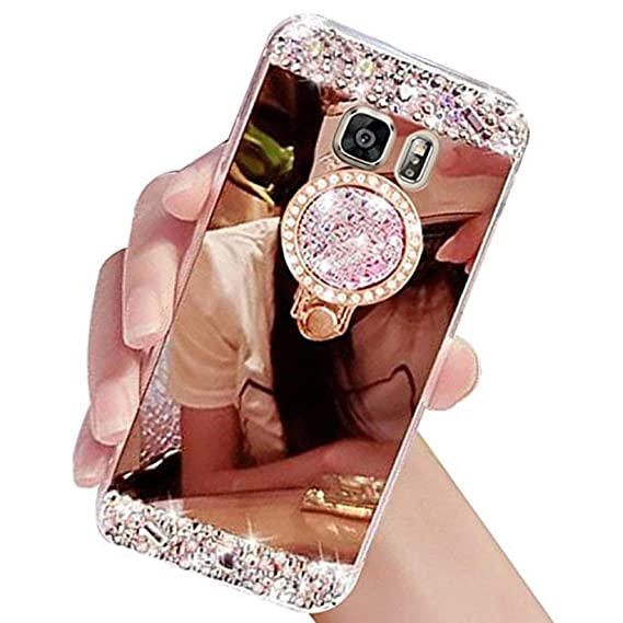the best attitude 3d5d9 d64e7 Lozeguyc Galaxy S7 Edge Case,Crystal Rhinestone Mirror Glass Case Bling  Diamond Soft Rubber Makeup Case for Samsung Galaxy S7 Edge with Detachable  360 ...