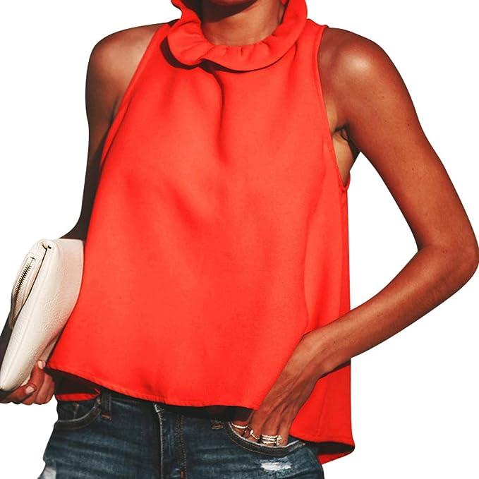 Yiiquanan Camisetas Mujer Blusa Tops Sin Mangas Cuello Redondo del Ruffles Fiesta Camisa Color Sólido (