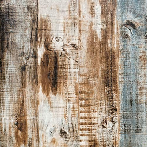 "17.8"" x 16.4' Wood Peel and Stick Wallpaper Self-Adhesive Removable Wall Covering Decorative Vintage Wood Panel Faux Distressed Wood Plank Wooden Grain Film Vinyl Decal Roll"