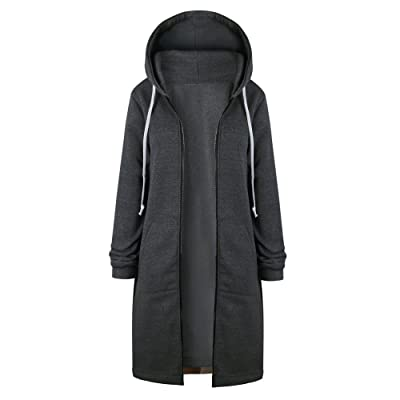 KLFGJ Long Casual Jackets for Women Winter Coats Zip up Hoodies Woman Lady Hoodie Sweaters Pullover at Women's Clothing store