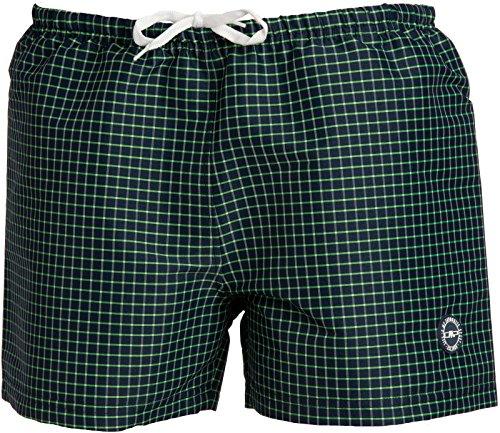 Campagnolo Man Stretch Shorts / Badeshorts, navy-pepper mint - blau kariert - XXL