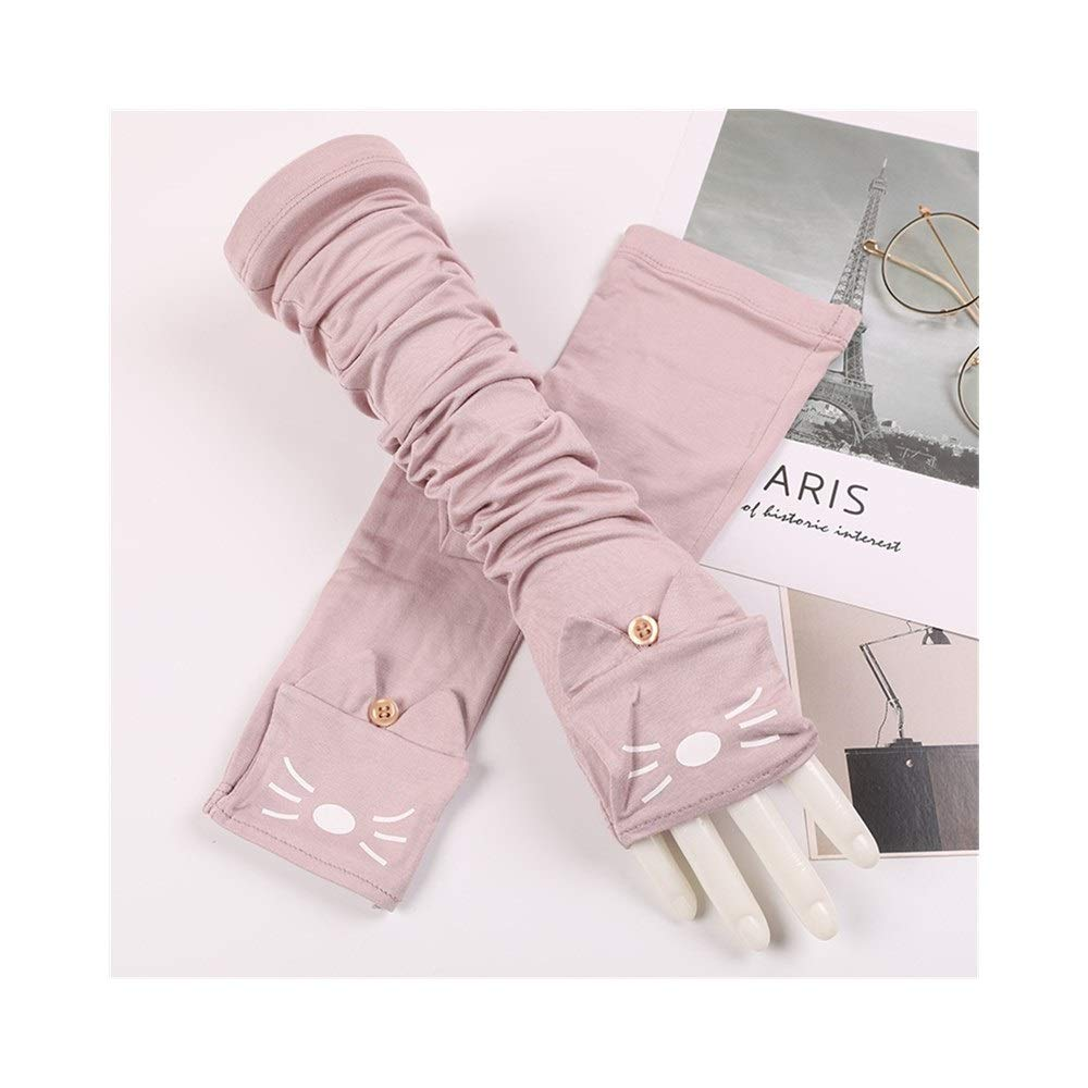 Comfortable UV Protection Sleeve Cotton Thin Female Cat Summer Outdoor Driving Long Sunscreen Sun Protection Gloves Durable (Color : Pink-B, Size : One Size-Five Pairs)