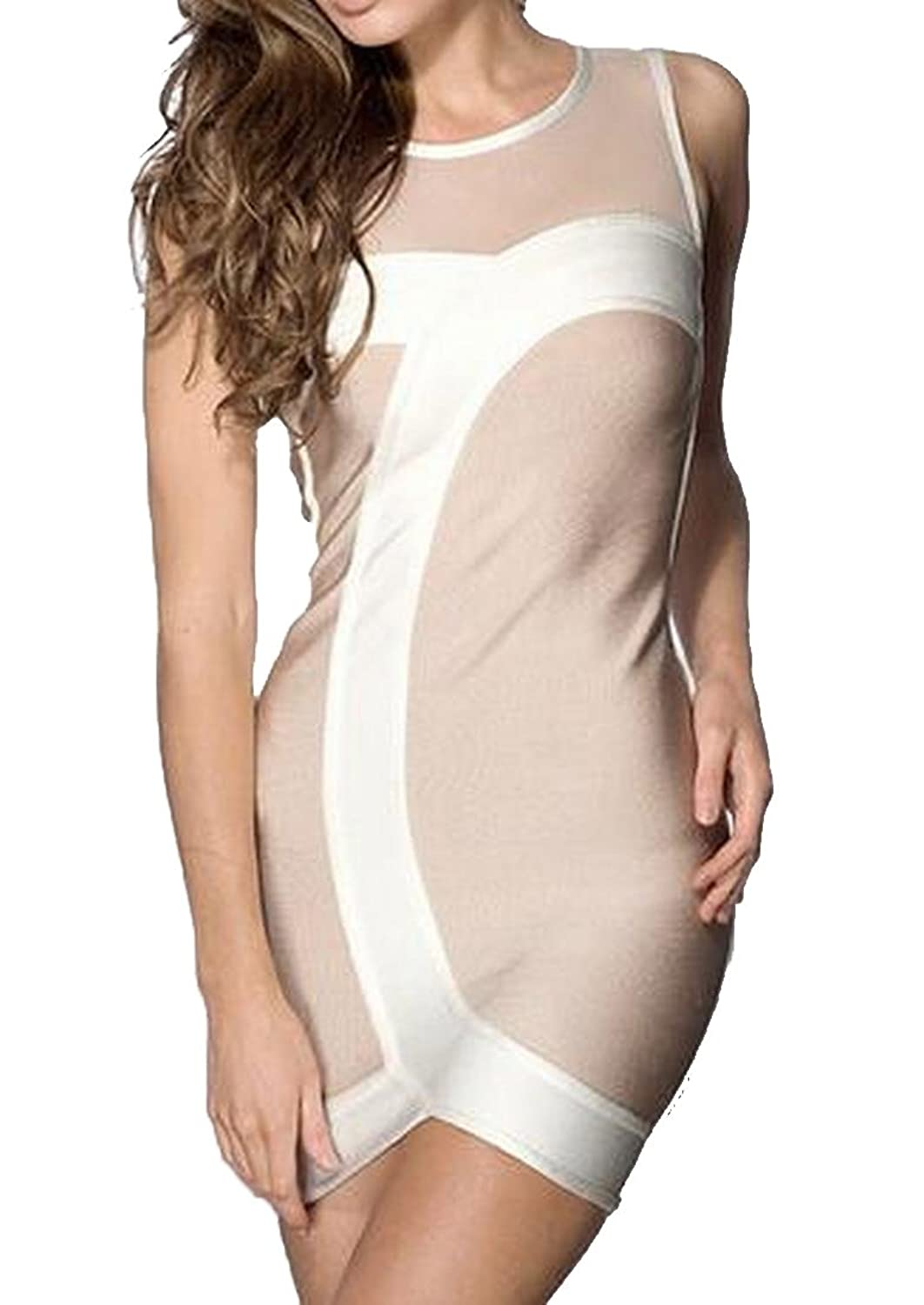 Comfy Womens Conjoin Round Neck Sleeveless Bodycon Dress