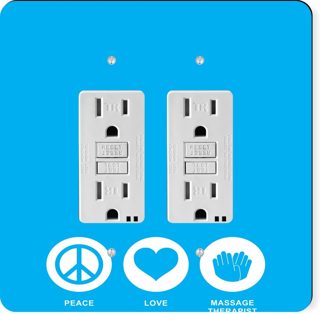 Rikki Knight 43000 Gfidouble Peace Love Massage Therapist Sky Blue Design Light Switch Plate