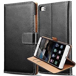 König de Shop Huawei P8Teléfono Móvil Funda Wallet Funda Case Cover Funda Carcasa Funda De Protección Carcasa Funda Con Función Atril, color negro