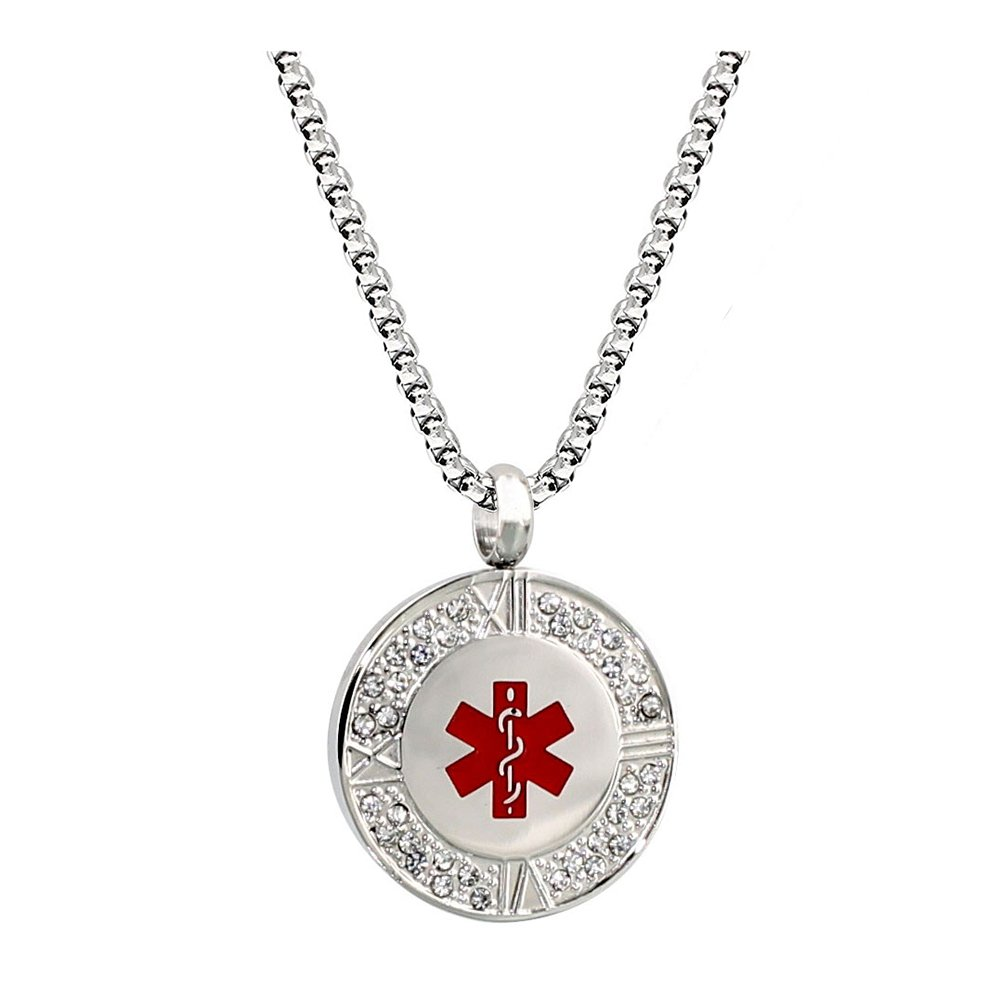 Stainless Steel Crystal Medical Alert ID Necklace for Women 24 inch,Free Engraving