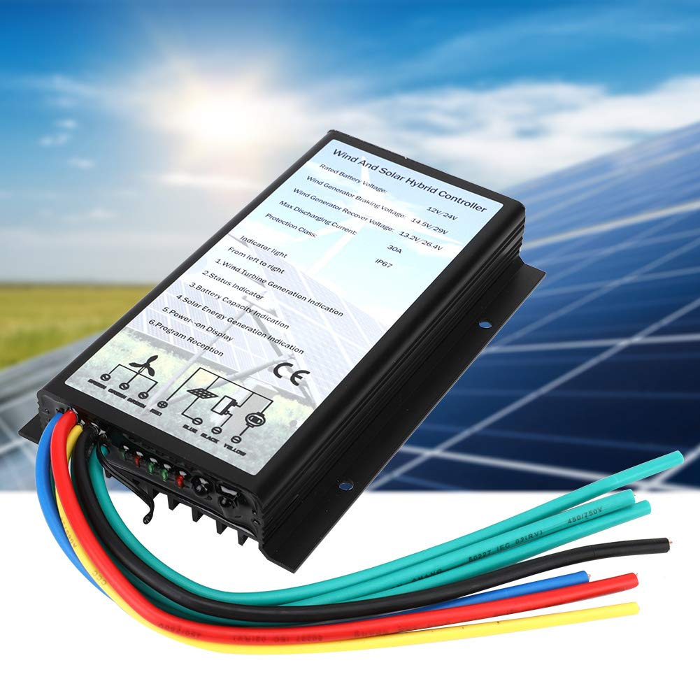 Wind Solar Hybrid Charge Generator Controller/,12//24V Wind Solar Turbine Generator Controller IP67 Protection Electrical Supplies 30A for Wind Turbine Generator and Solar Panels