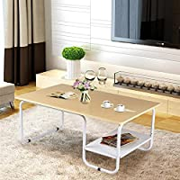 Topeakmart Modern Rectangular Wood Coffee Table with White Metal Storage Shelf and Tube Legs Living Room Furniture