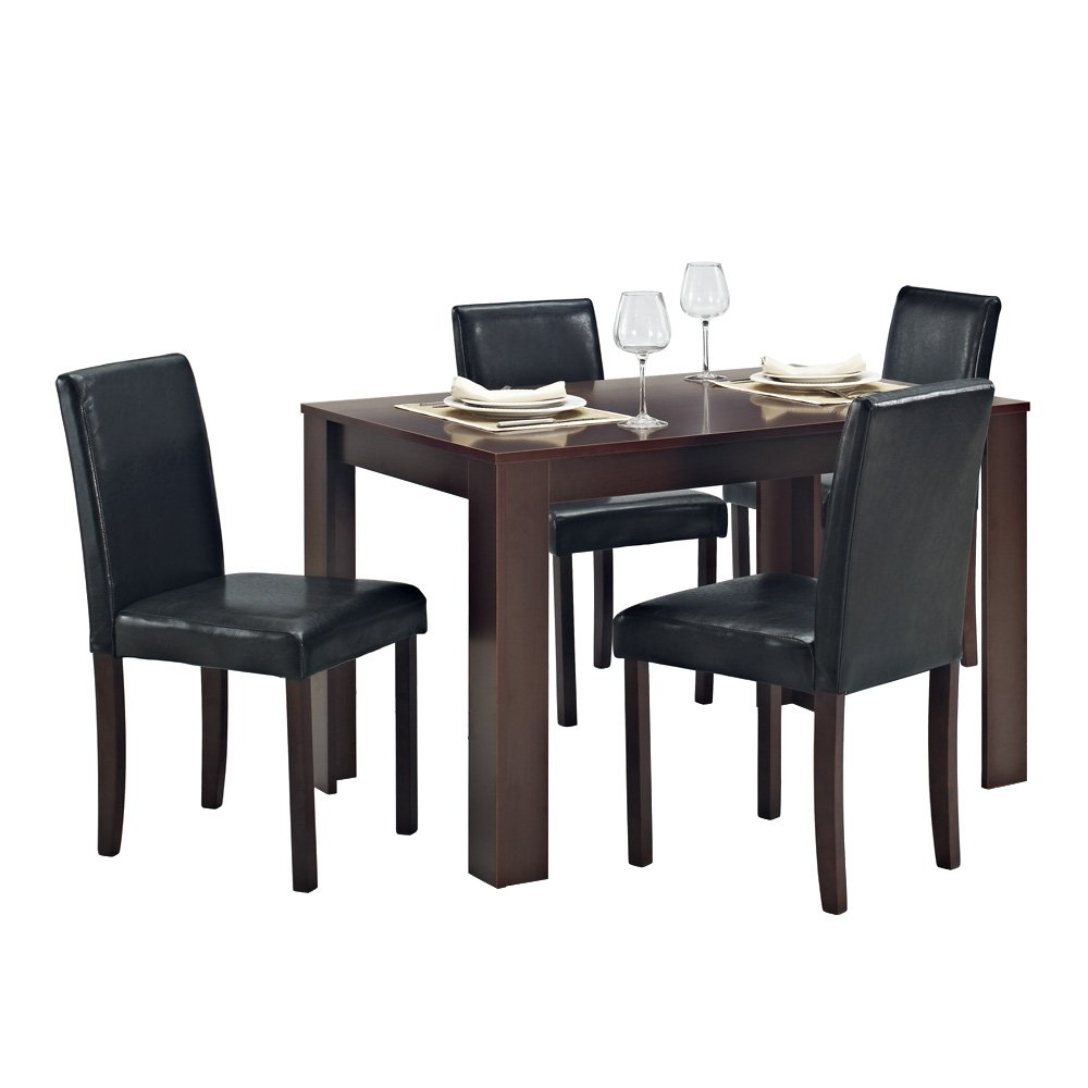 Home Living Dining Table 4 Chairs Faux Leather Dark Walnut Furniture Room Set