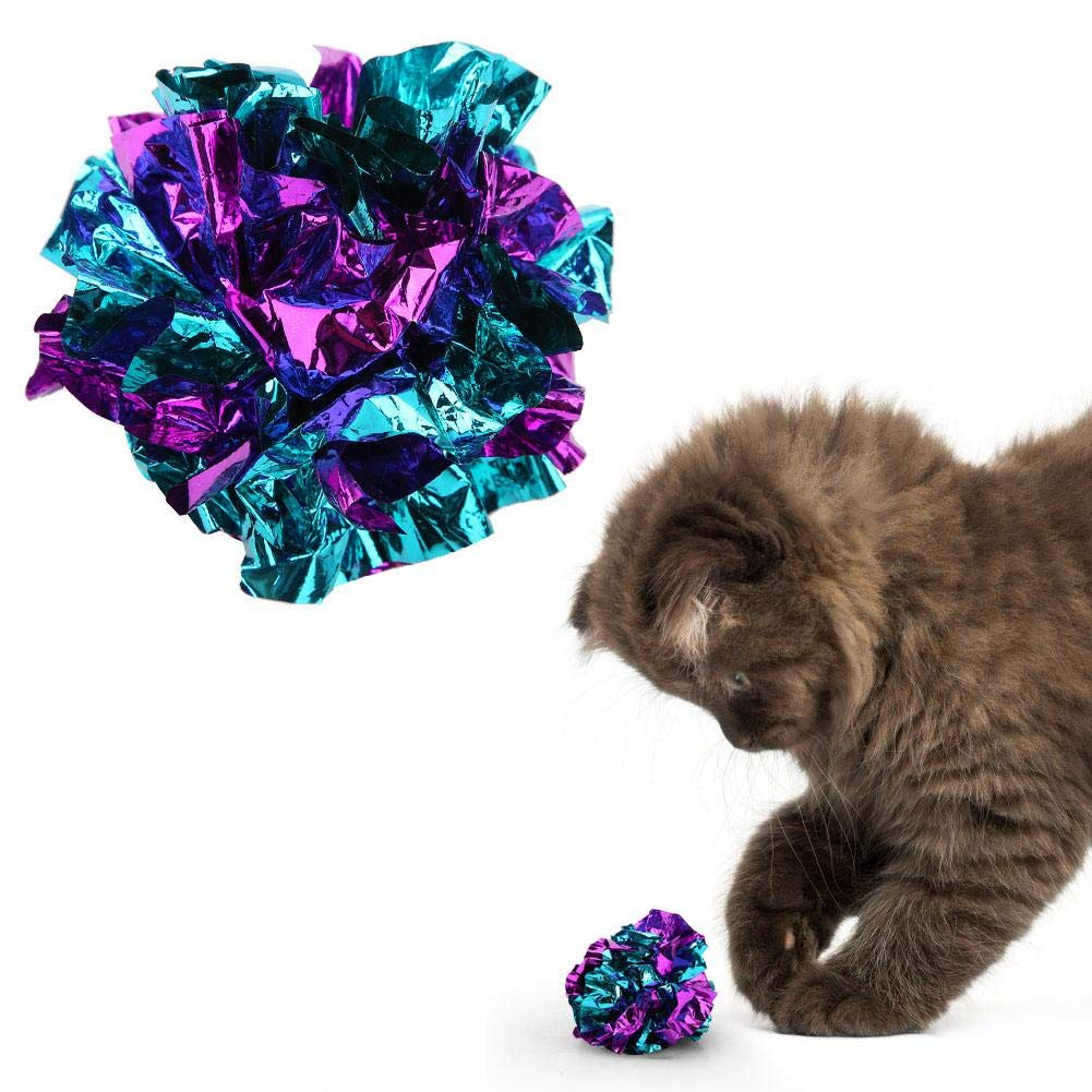 Ichiias Cat Toy Ball 3Pcs Interactive Pet Toys Large Kitten Crinkle Balls Colorful Shiny Crackle Paper