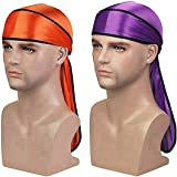 Silky Durag (2PCS/3PCS) with Extra long tail and wide straps headwrap Du-Rag for 360 Waves