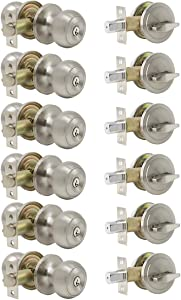 6 Pack Keyed-Alike Entry Knob and Single Cylinder Deadbolt Combination Locksets,Satin Nickel Finished,for Right-Handed and Left-Handed Doors,Stainless Steel Made