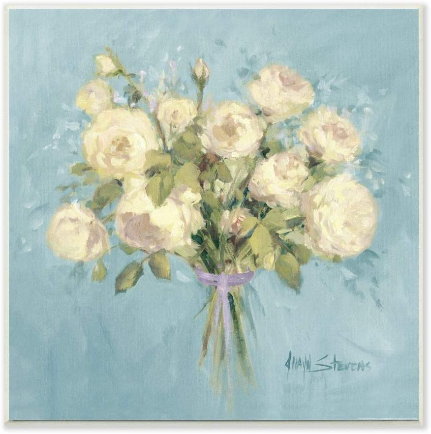 Stupell Industries Rose Bouquet Flower Blue White Painting, Design by Artist Jadei Graphics Art, 12 x 0.5 x 12, Wall Plaque