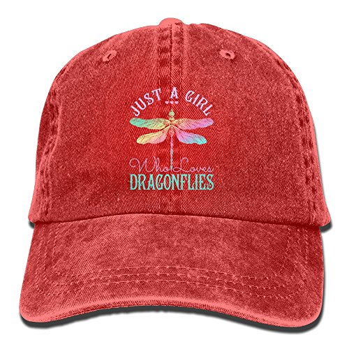 - Just A Girl Who Love Dragonfly Cool Adjustable Baseball Cap Dad Hat