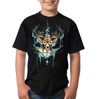 Unisex T-Shirt Casual Triangle Deer O-Neck Tee For Teenage - Black