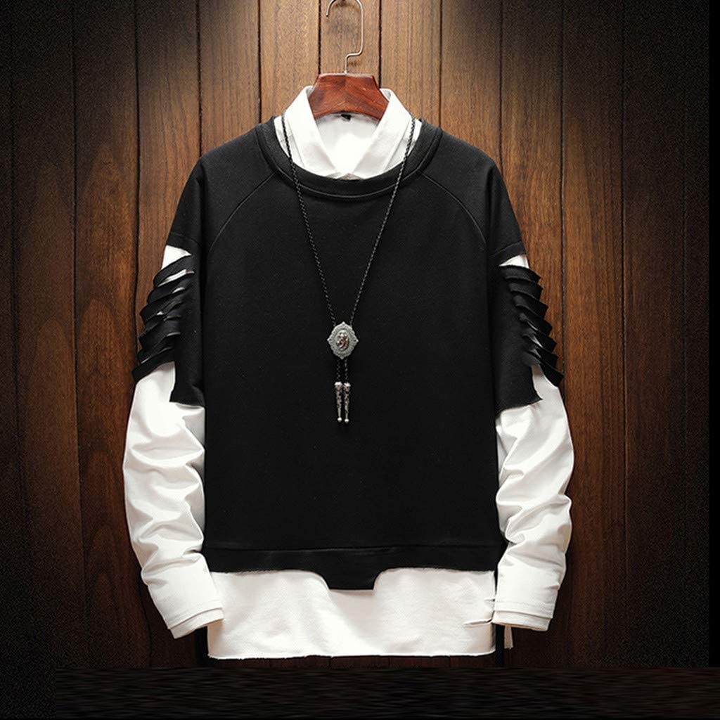 WYTong Men Hip hop Patchwork Pullover Crew Neck Long Sleeve Casual Sweatshirt Tops Blouse