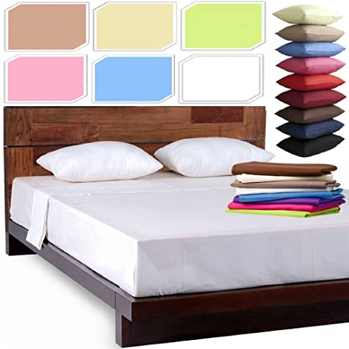 NEW LUXURY PLAIN DYED POLYCOTTON FITTED FLAT BED SHEET SINGLE DOUBLE KING  SIZE BEDDING (White