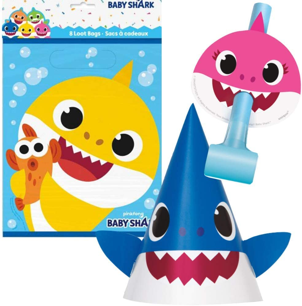 Shark Party Favors Bundle Includes Party Hats, Blow Outs, and Loot Bags for 8 Guests