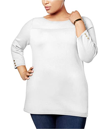 adb1b37a54bd8 Karen Scott Plus Size Cotton Boat-Neck Sweater (0X) at Amazon ...