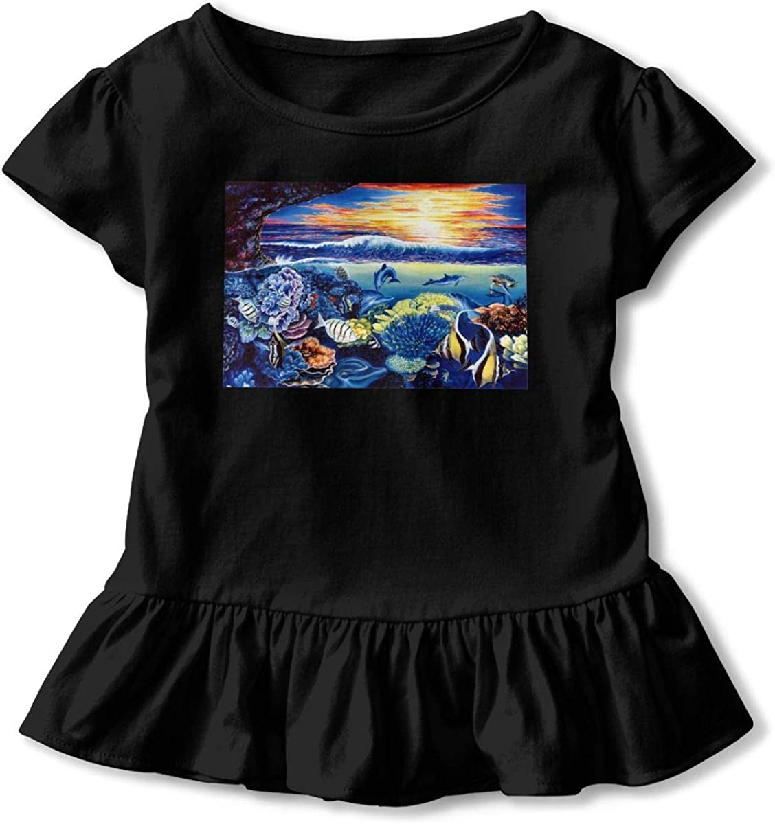 Sunset Underwater Dolphin Baby Girls Short Sleeve T-Shirt Flounced Graphic Shirt Dress for 2-6 Years Old Baby