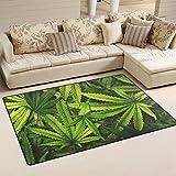 Cheap LORVIES Cannabis Texture Marijuana Leaf Pile Area Rug Carpet Non-Slip Floor Mat Doormats for Living Room Bedroom 60 x 39 inches