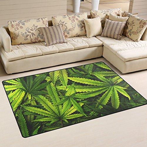 LORVIES Cannabis Texture Marijuana Leaf Pile Area Rug Carpet Non-Slip Floor Mat Doormats for Living Room Bedroom 60 x 39 inches