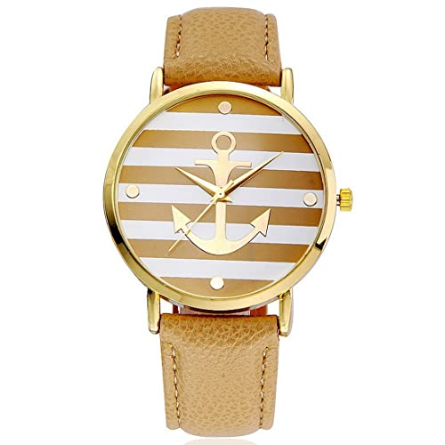 Souarts Damen Streifen Armbanduhr Armreif Uhr mit Batterie Zifferblatt