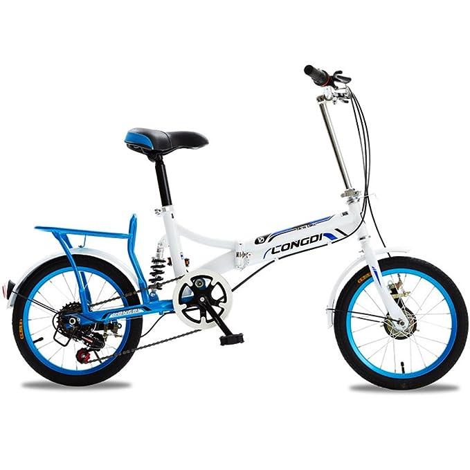 XQ 1615URE Bicicleta Plegable de 16 Pulgadas Adultos Bicicleta Plegable de 6 Velocidades Variables Ultraligero Amortiguación Hombres y Mujeres Estudiante ...