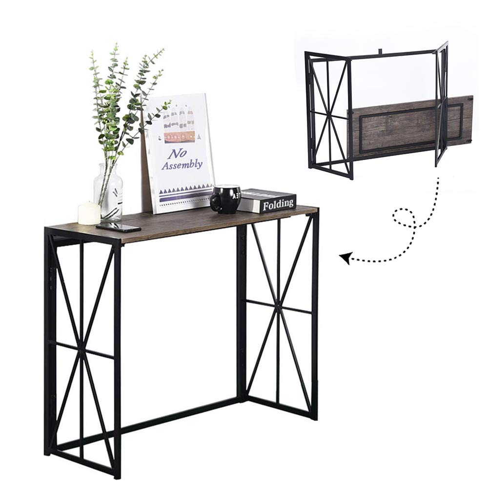 Folding-Console Table, No-Assembly Wood Entryway Hall Table,8 Seconds Finish Installation Industrial Sofa Side Table Sturdy Metal X-Design HORES/BS (Walnut+ Black)