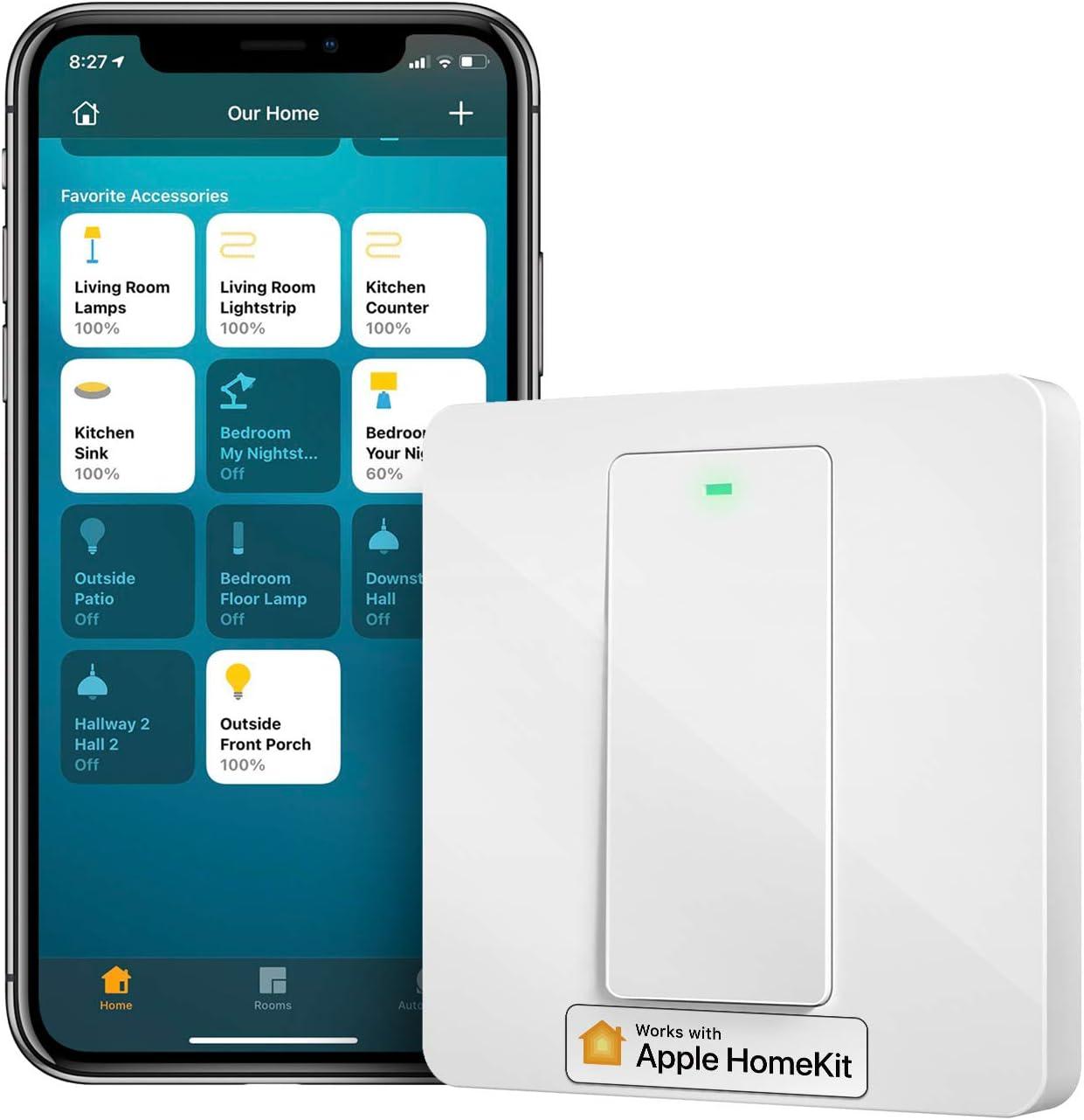Interrupteur Connecté HomeKit (FIL NEUTRE REQUIS), Interrupteur Intelligent Compatible avec Siri, Alexa,...