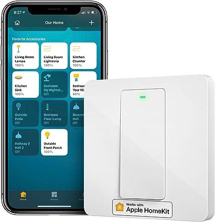 Interruptor de Pared Inteligente, 1 Vía, 1 Canal. Wi-Fi Interruptor. Compatible con HomeKit Siri...