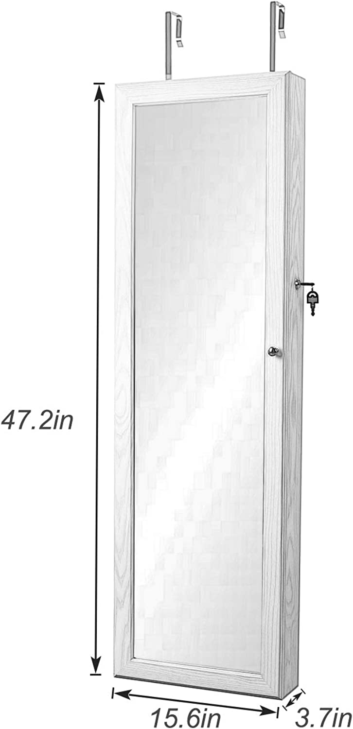 Wooden Lockable Standing Chest Armoire Wardrobe Organizer with 6 LED Light White S7-QH-7025-CA SDHYLFull-Length Jewelry Cabinet Mirror