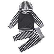 Sharemen Baby Boy Girl Long Sleeve Striped Hoodie Tops Sweatsuit Pants Outfit (3-6 Months, Gray)