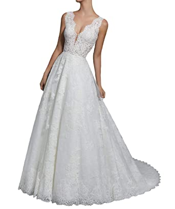 Luckyshe Damen Lang A Linie Vintage Spitze Brautkleid