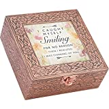 Cottage Garden Caught Smiling Thinking Of You Stamped Copper 6 x 6 Metal Finish Music Box Plays Edelweiss