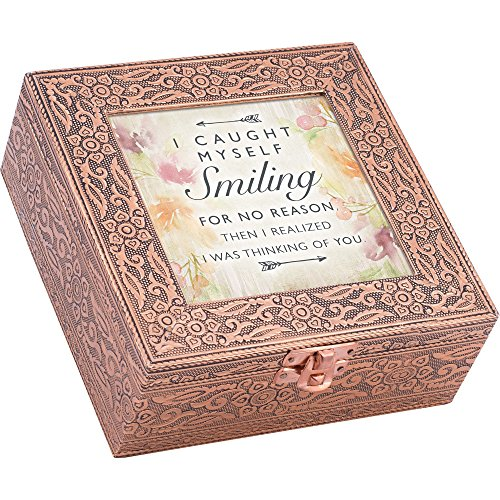 Cottage Garden Caught Smiling Thinking of You Stamped Copper 6 x 6 Metal Finish Music Box Plays Edelweiss ()
