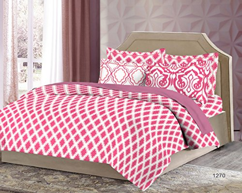 Bombay Dyeing Solitaire 100%Cotton King Size Bedsheet with 4 Pillow Covers-Pink