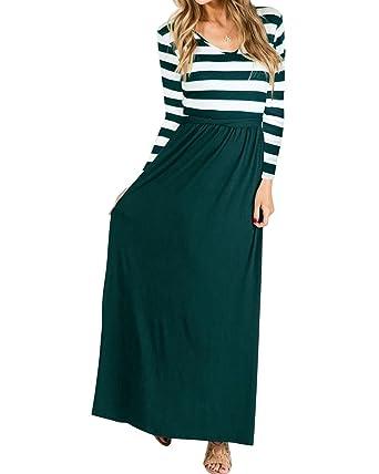 2d48cc6ec7 Jacansi Women Striped Patchwork Casual Loose Oversized Tunic Maxi Dress  Dark Green UK 16  Amazon.co.uk  Clothing
