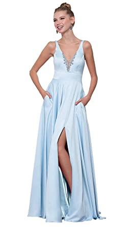 c9188f4c82ca Women's V Neck Side Split Beaded Satin Evening Party Dress Long Ball Gown  with Pockets Bady