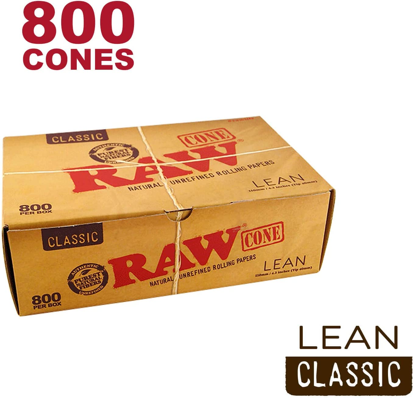 109mm Slim Natural Rice Paper Pre Rolled Cones w// 40mm Filter Tips  500//Box