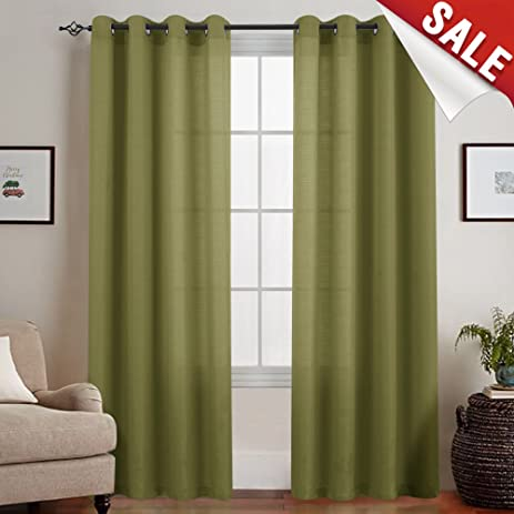 Semi Sheer Curtains For Living Room 95 Inches Long Casual Weave Textured  Privacy Window Curtain Panels
